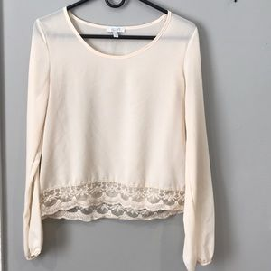 Cream Blouse with Lace Trim